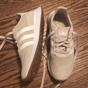 Adidas Taupe and White Sneakers Sz 6